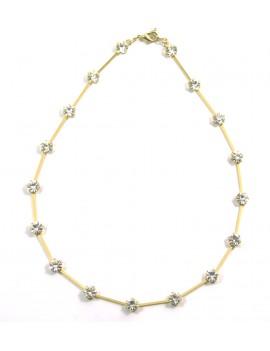 bracelet manchette dorée, perles et cristaux