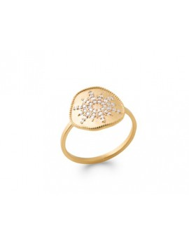 Bague plaqué or strass