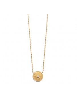 Collier pendentif médaille avec une pierre