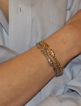 2 bracelets dessin feuillage