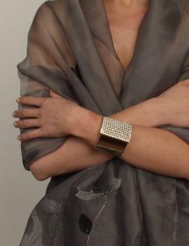 bracelet manchette dorée,...