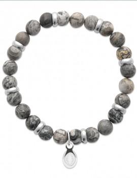 Bracelet perles de jaspe gris