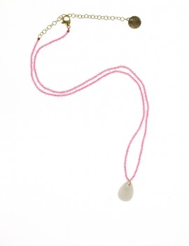 Collier rose et blanc