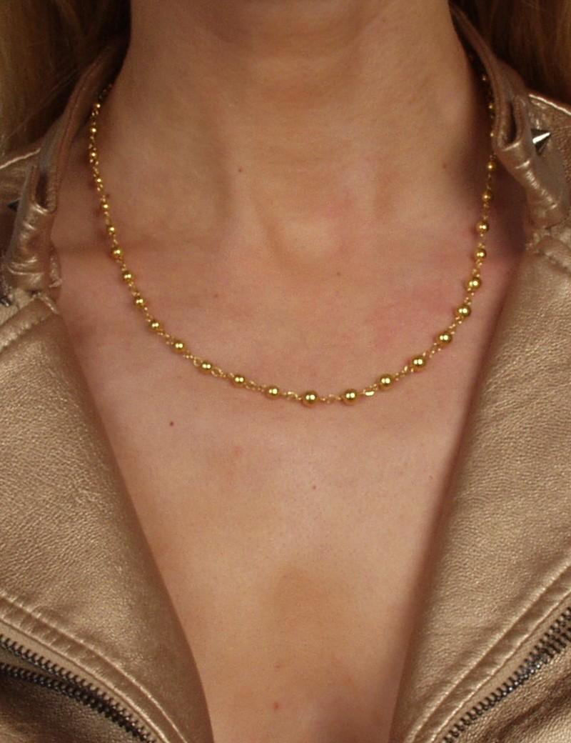 Collier perles laiton doré