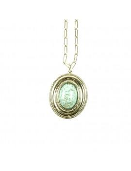 Collier médaillon turquoise